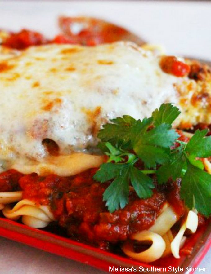 Cheesy Saucy Chicken Parmesan on a plate