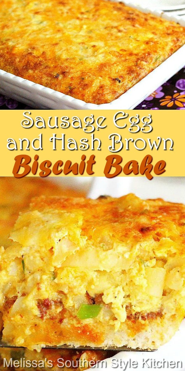 This hearty brunch dish features everything we love about breakfast in every bite #biscuitbake #sausageandeggs #breakfastbake #brunchcasseroles #sausage #eggs #southernbiscuits #southernfood #southernrecipes #biscuits #holidaybrunch #breakfastcasseroles #brunchrecipes #hashbrowncasserole #hashbrowns