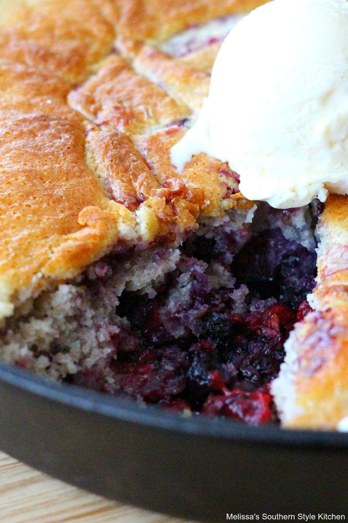 Triple Berry Skillet Cobbler with ice cream