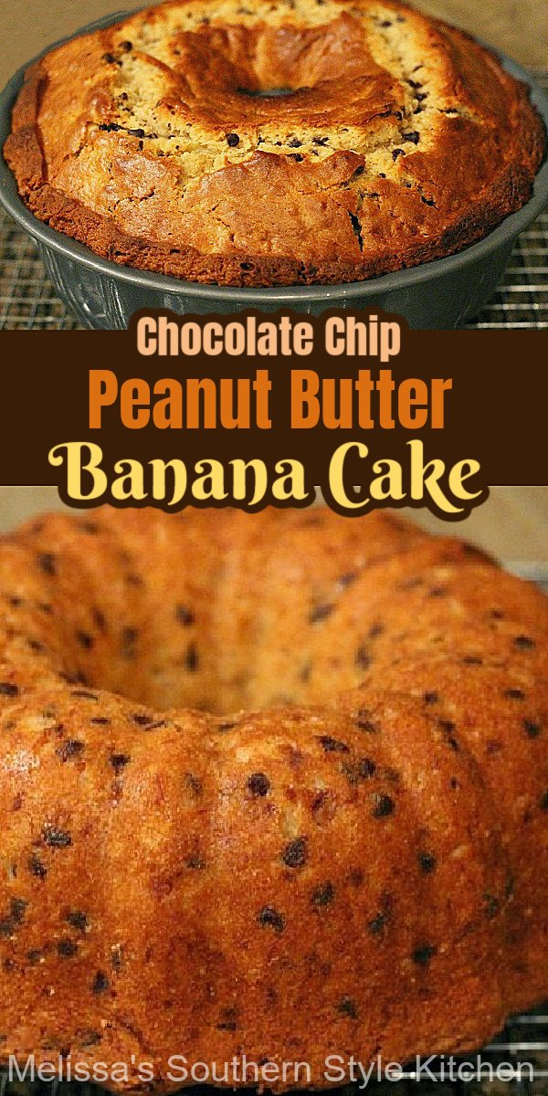 Turn overripe bananas into this amazing homemade Chocolate Chip Peanut Butter Banana Bundt Cake #chocolatechipcake #chocolatechipbananacake #bundtcakerecipes #peanutbuttercake #cakes #southerndesserts #southernrecipes #holidayrecipes #bananas