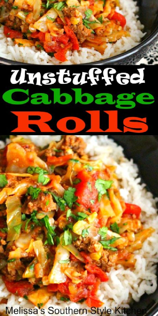 Take the fuss out of this classic and enjoy Unstuffed Cabbage Rolls over rice for dinner #cabbagerolls #unstuffedcabbagerolls #lowcarrecipes #cabbage #easygroundbeefrecipes #dinnerideas #southernrecipes