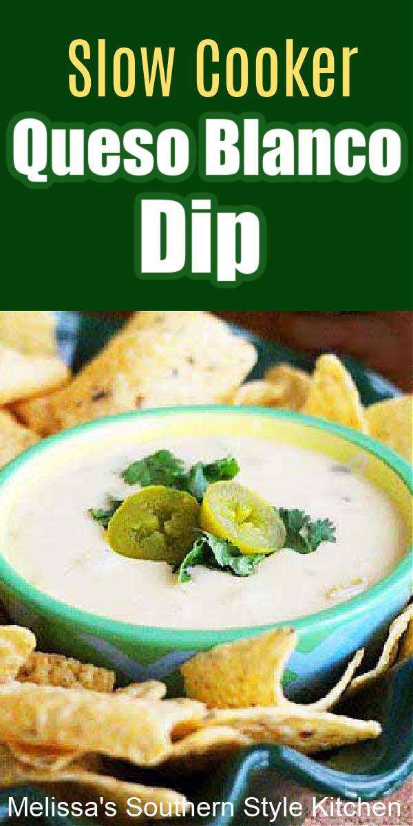 This creamy Slow Cooker Queso Blanco Dip is just like the addictive dip served at Mexican restaurants made in a slow cooker at home #quesoblancodip #slowcookerdip #diprecipes #mexicandip #quesorecipes #crockpotquesodip #crockpotrecipes #slowcookedquesodip