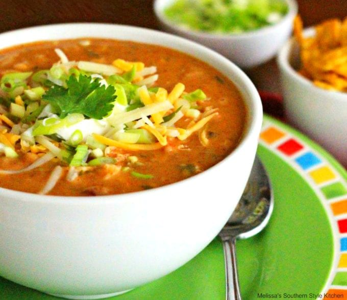 chicken taco soup in a bowl