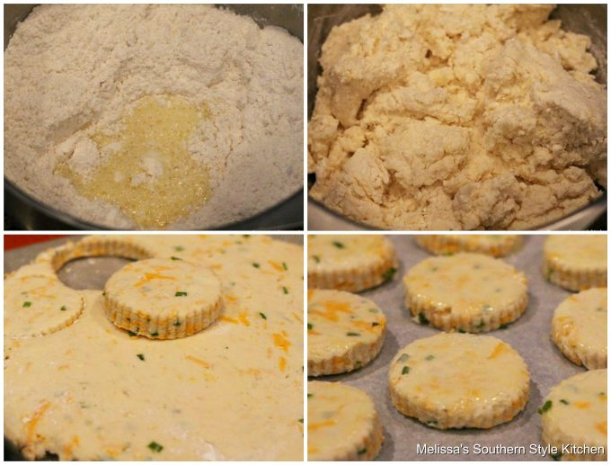 Step-by-step preparation images and ingredients for potato biscuits