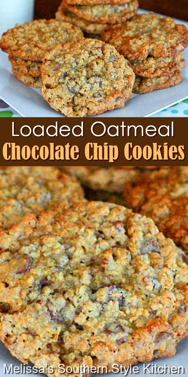 These loaded-up Oatmeal Chocolate Chip Cookies won't last long in your cookie jar #oatmealcookies #chocolatechipcookies #loadedoatmealcookies #oatmealchocolatechipscookies #cookies #cookierecipes #holidaybaking #christmascookies #southernfood #southernrecipes #chocolate