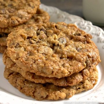 Loaded Oatmeal Chocolate Chip Cookies with milk
