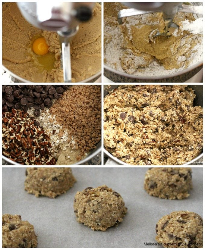 Step-by-step preparation images and ingredients for oatmeal chocolate chip cookies