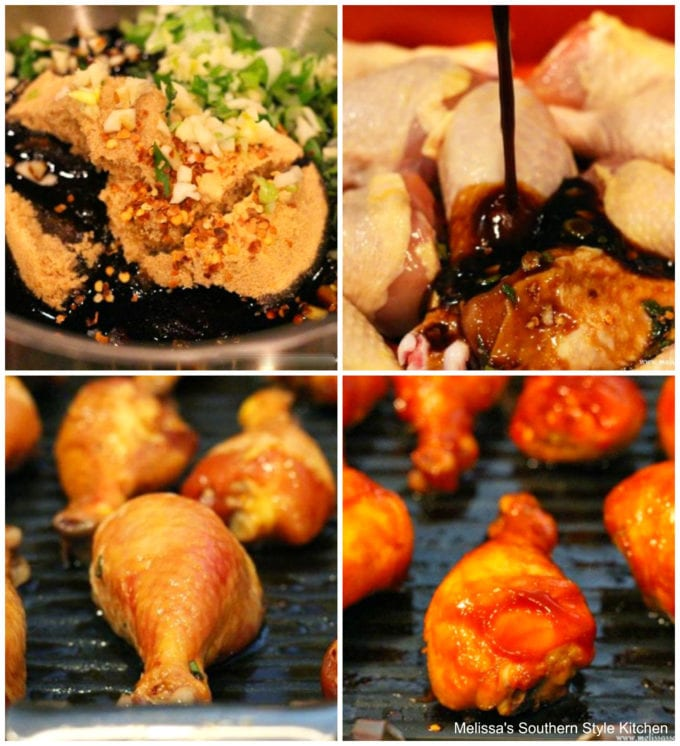Step-by-step images Sticky Sriracha Barbecue Chicken Drumsticks