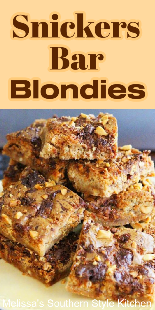 Treat the family to these rich homemade Snickers Bar Blondies filled with chewy candy bar nougat, salted peanuts and chocolate #blondies #candybarblondies #snickers #snickersbars #snickersblondies #candybarrecipes #chocolate #cookiebars #blondies