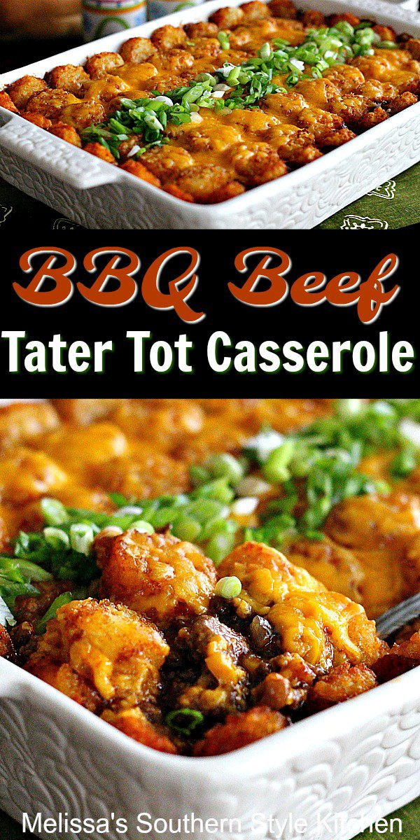 Barbecue Beef Tater Tot Casserole is a hearty one dish meal #bbq #barbecuebeef #tatertotcasserole #dinnerideas #casserolerecipes #southernrecipes #southernfood #barbecue #easyrecipes