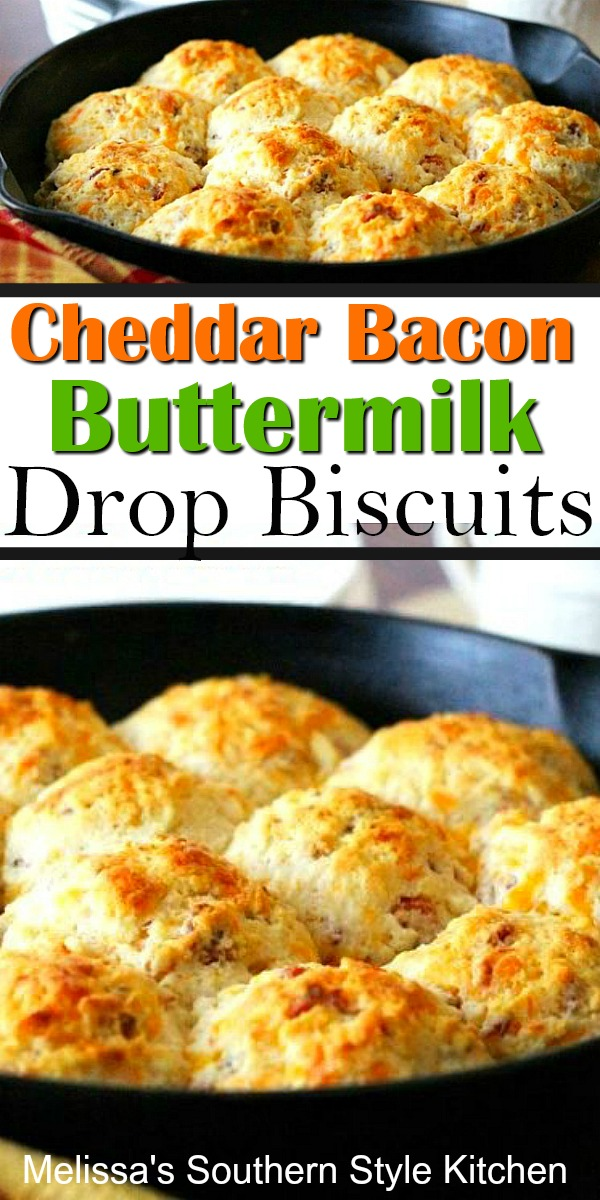 No rolling and cutting required to make these cheesy bacon biscuits #cheddarbaconbiscuits #dropbiscuits #buttermilkbiscuits #biscuitrecipes #bacon #southernbiscuits #southernfood #southernrecipes