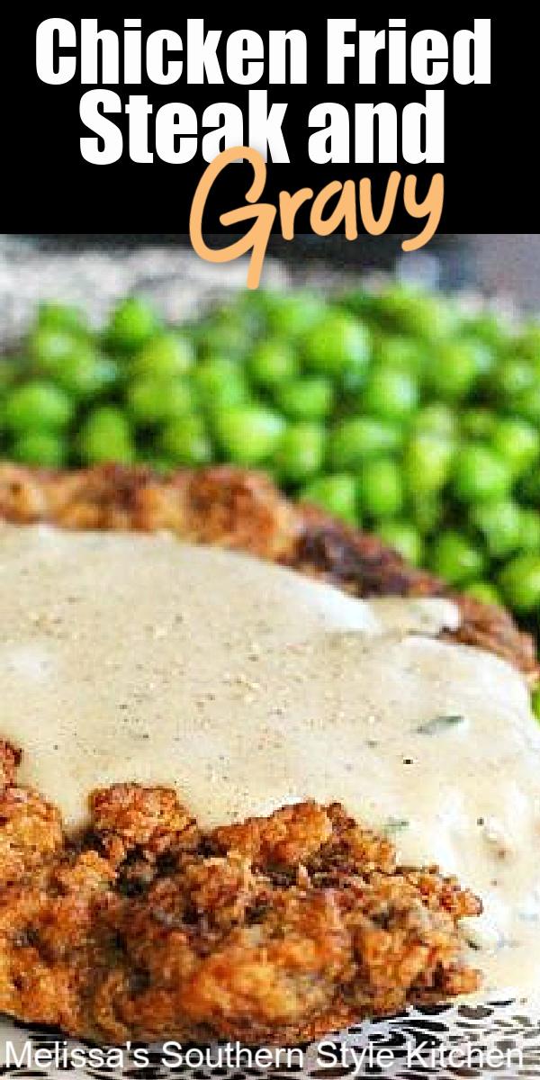Crispy breaded Chicken Fried Steak and Gravy is comfort food 101 #chickenfriedsteak #steak #beef #steakrecipes #beef #steakandgravy #southernrecipes #southernfood #dinnerideas #dinner #dinnerideas #steak #comfortfood