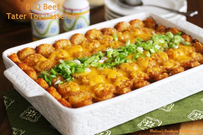 Barbecue Beef Tater Tot Casserole - melissassouthernstylekitchen.com