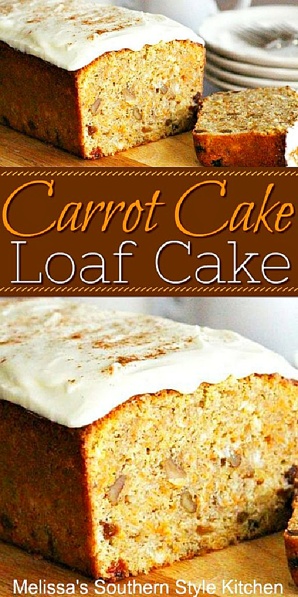Enjoy a slice of this Cream Cheese Frosted Carrot Cake Loaf for breakfast, brunch or dessert #carrotcake #carrotcakeloaf #carrotcakerecipes #easterdessets #brunchrecipes #breakfastrecipes #loafcakerecipes #creamcheesefrosting