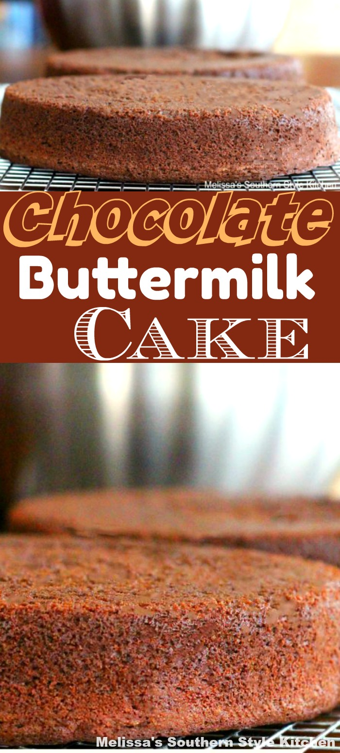 This Chocolate Buttermilk Cake can be frosted with chocolate, peanut butter, caramel or vanilla buttercream for a flawless finish #chocolatecake #chocolate #chocolatebuttermilkcake #cakerecipes #chocolatelayercake #chocolatecupcakes #chocolatesheetcake