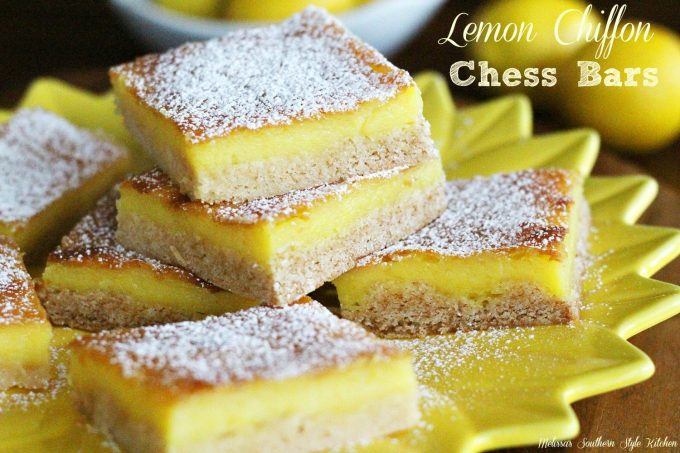 Lemon Chiffon Chess Bars - melissassouthernstylekitchen.com
