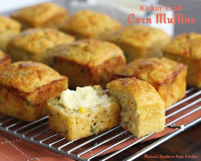 Buttered Kickin' Crab Corn Muffins on a cooling rack