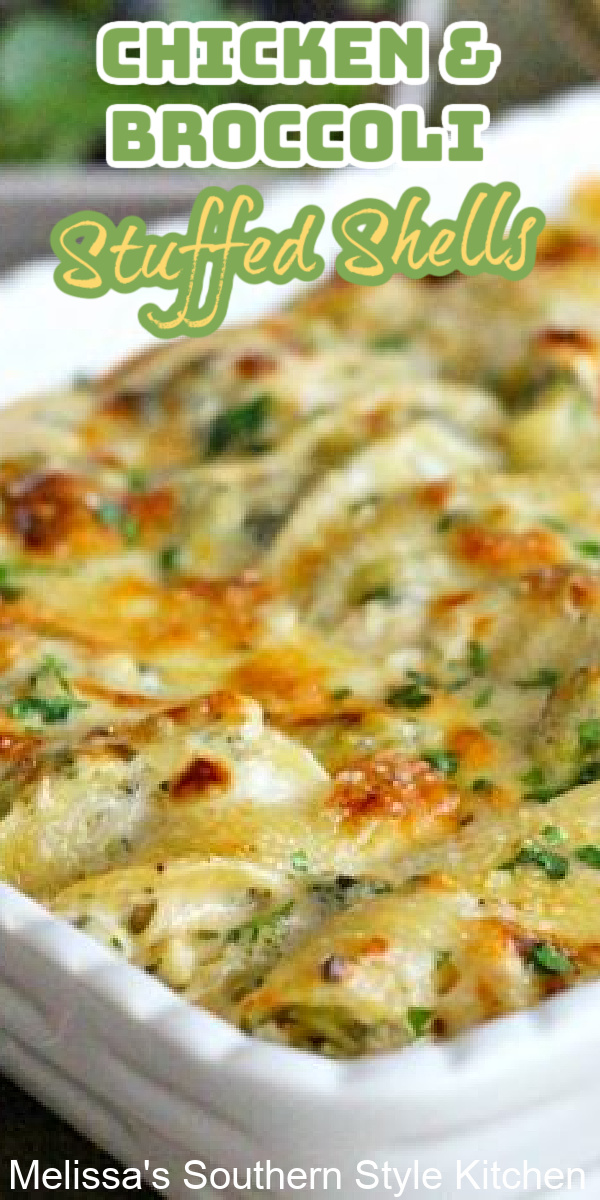 These easy Chicken and Broccoli Stuffed Shells are smothered with Alfredo sauce then baked until bubbly and golden #chickenandbroccoli #chickenstuffedshells #alfredochicken #pastarecipes #southernfood #Italian #easychickenrecipes #dinnerideas #dinner #southernrecipes #stuffedshells