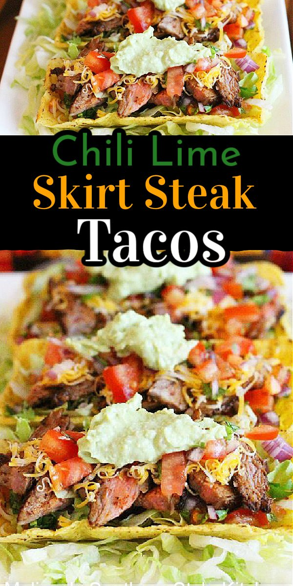 Enjoy these Chili Lime Skirt Steak Tacos with Avocado Cream for a low-stress weekday meal or a laid back weekend homestyle fiesta #skirtsteaktacos #steaktacos #tacorecipes #skirtsteak #steakrecipes #tacotuesday