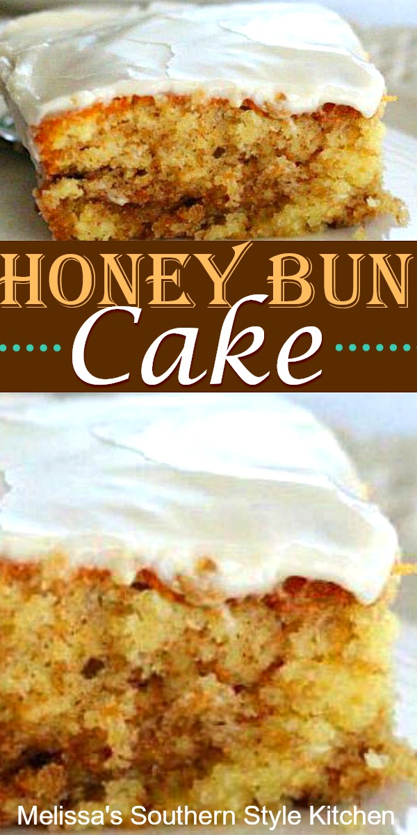 Enjoy this Honey Bun Cake for breakfast, brunch or dessert #honeybuncake #honeybuns #cakes #sheetcakerecipes #desserts #dessertfoodrecipes #brunch #holidaybrunch #southernrecipes #southernfood