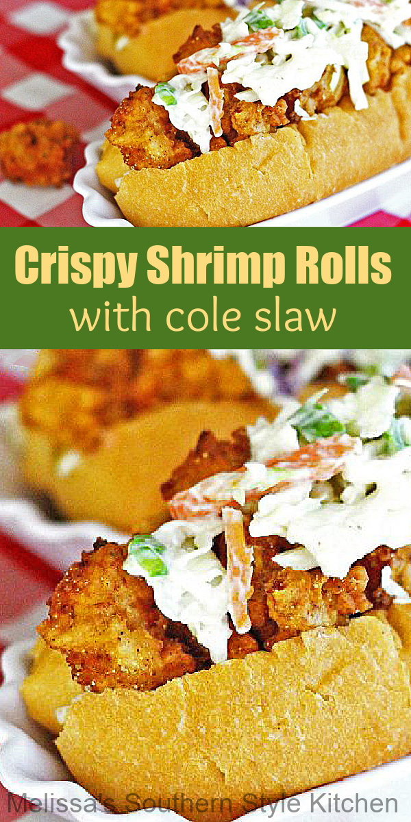 These Crispy Shrimp Rolls topped with coleslaw are a cross between a lobster roll and a shrimp po'boy #shrimprolls #friedshrimprecipes #poboys #coleslawrecipes #easyseafoodrecipes #dinner #shrimp #seafoodrecipes #shrimprolls #southernfood #southernrecipes