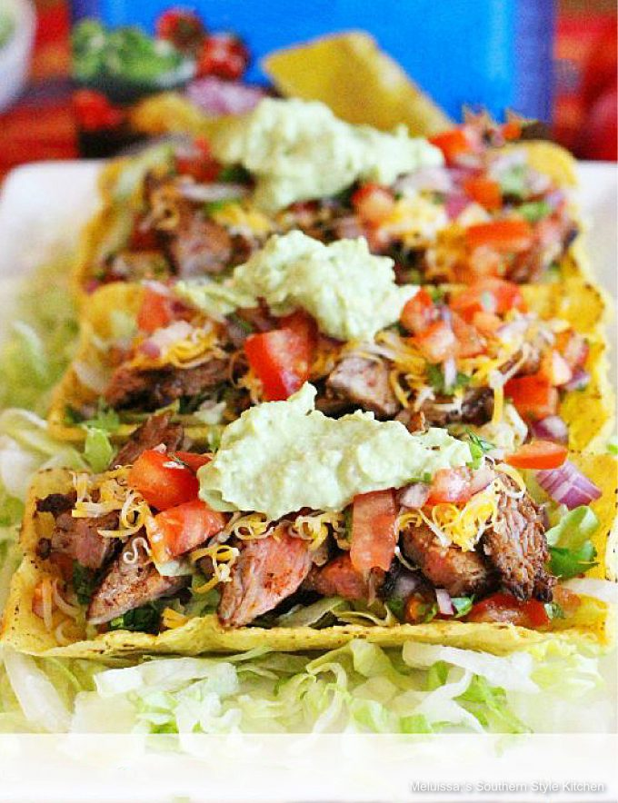 plated Chili Lime Flank Steak Tacos