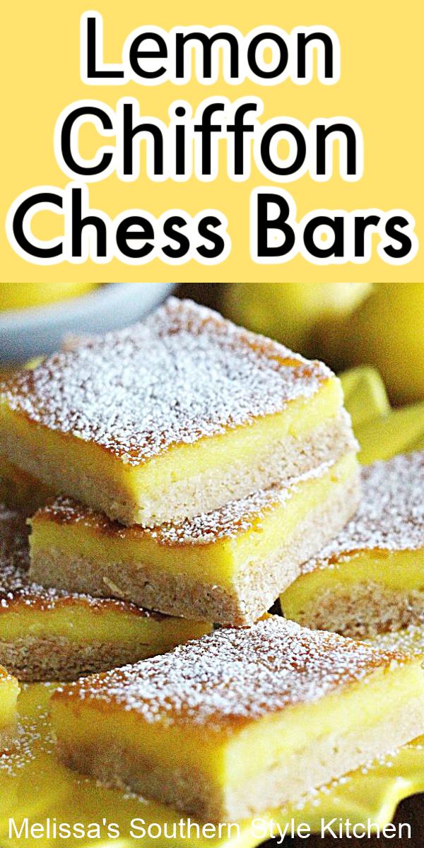 These lemon bars are infused with bright citrus flavor in every bite #lemonbars #lemonchessbars #lemons #gooeybuttercake #lemon #desserts #dessertfoodrecipes #southeernfood #bbqdesserts #barrecipes #easterdesserts #holidaybaking