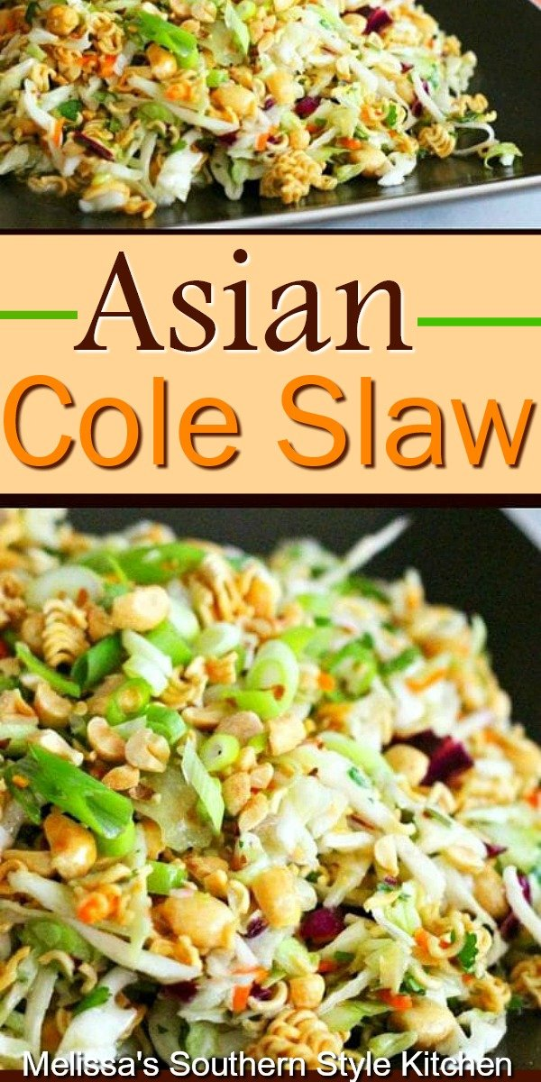 Toasted ramen noodles, peanuts and crispy slaw tossed with an Asian inspired dressing #Asiancoleslaw #coleslaw #ramennoodles #slaw #sidedishrecipes #cabbage #salads #southernfood #southernrecipes