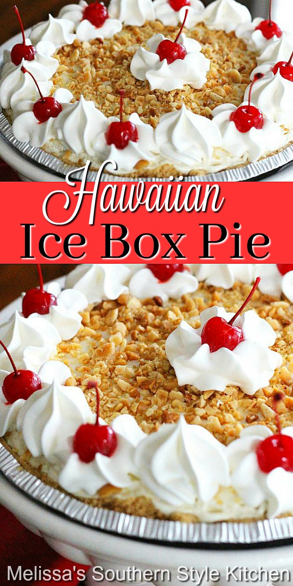 This island inspired ice box require requires no cooking at all! #hawaiianiceboxpie #iceboxpierecipes #pineapplepie #nobakepies #pierecipes #desserts #dessertfoodrecipes #holidayrecipes #picnicfood #summerdesserts #christmasrecipes #southernfood #southernrecipes