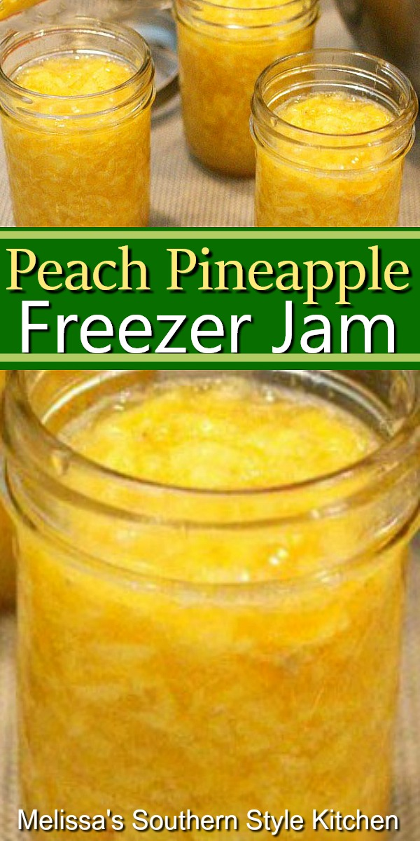 Enjoy this Peach Pineapple Freezer Jam on biscuits, scones, toast and more #peachjam #pineapplejam #freezerjamrecipes #freezerjam #peachpineapplejam #sweets #brunch #breakfast #jam #southernfood #southernrecipes
