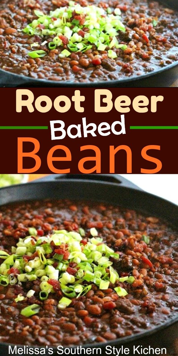 These picnic ready Root Beer Baked Beans are delicious to the last spoonful #bakedbeans #beans #porkandbeans #grillingfood #bbq #barbecuebeans #southernfood #southernrecipes #rootbeer #food #sidedishrecipes #dinnerideas #dinner