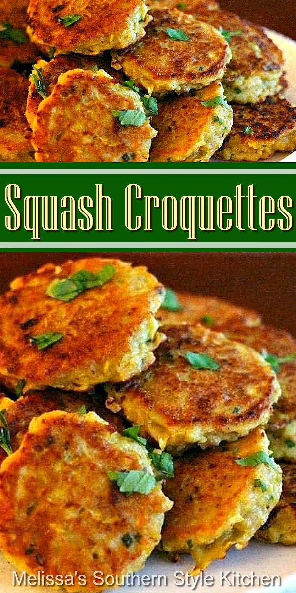These Squash Croquettes are a delicious way to enjoy fresh summer squash #squash #squashcroquettes #squashcakes #yellowsquash #sidedishrecipes #vegetarian #southernfood #southernrecipes #squashrecipes #vegetables #summersquash