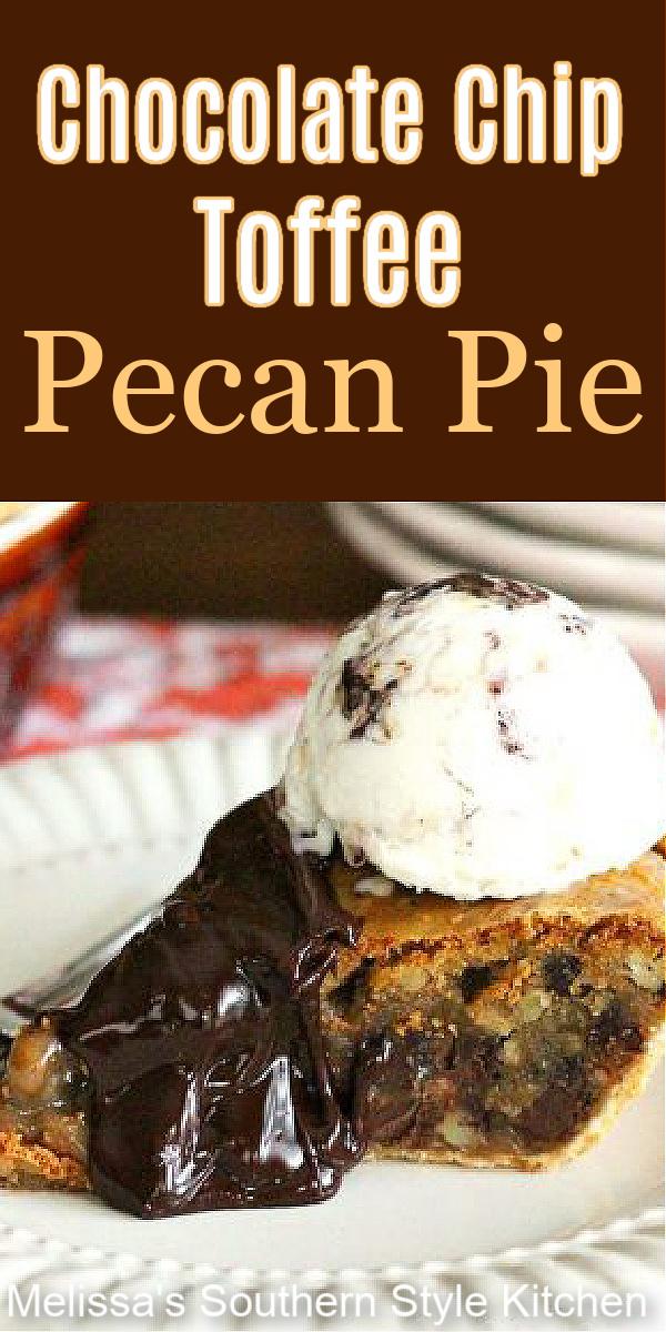 Chocolate Chip Toffee Pecan Pie #pecanpie #chocolatepecanpie #pecanpierecipes #pies #desserts #dessertfoodrecipes #southernfood #holidaydesserts #southernrecipes