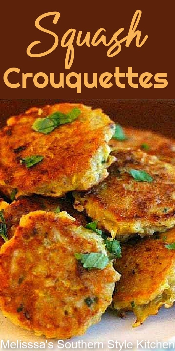 These Squash Croquettes are a delicious way to enjoy fresh summer squash year-round #squash #squashcroquettes #squashcakes #yellowsquash #sidedishrecipes #vegetarian #southernfood #southernrecipes #squashrecipes #vegetables #summersquash