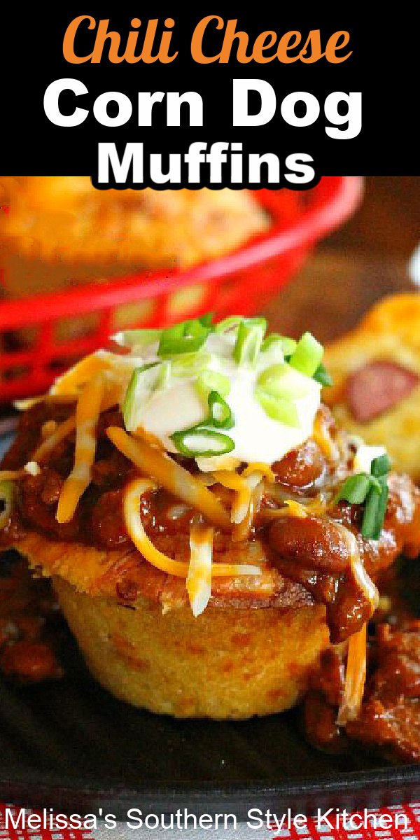 Chili Cheese Corn Dog Muffins combine all that we love about classic corn dogs smothered with beefy bean chili, sour cream and cheddar cheese #corndogs #corndogmuffins #cornbread #dinner #muffinrecipes #food #dinnerideas #chili #chilicheesedogs #southernrecipes #hotdogs