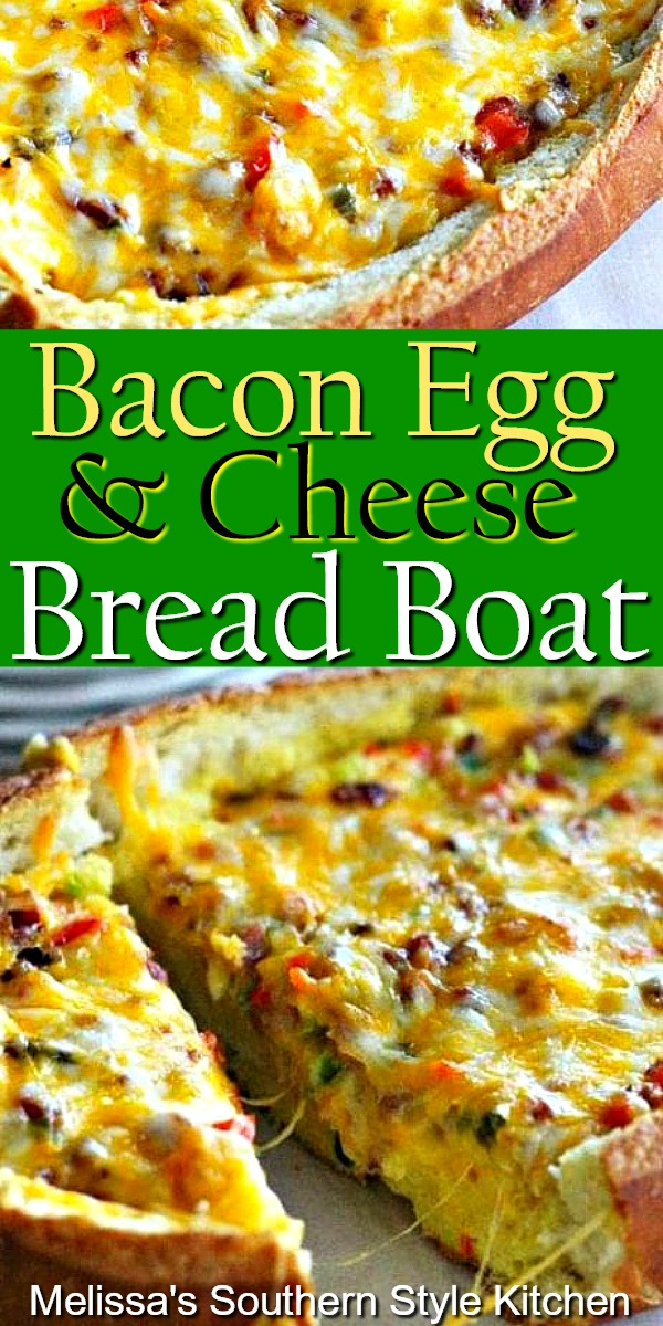 This Bacon Egg and Cheese Bread Boat makes a tasty start to your day #baconeggcheese #eggrecipes #breakfaszt #breadboat #breadrecipes #eggs #holidaybrunch #breakfast #southernfood #southernrecipes