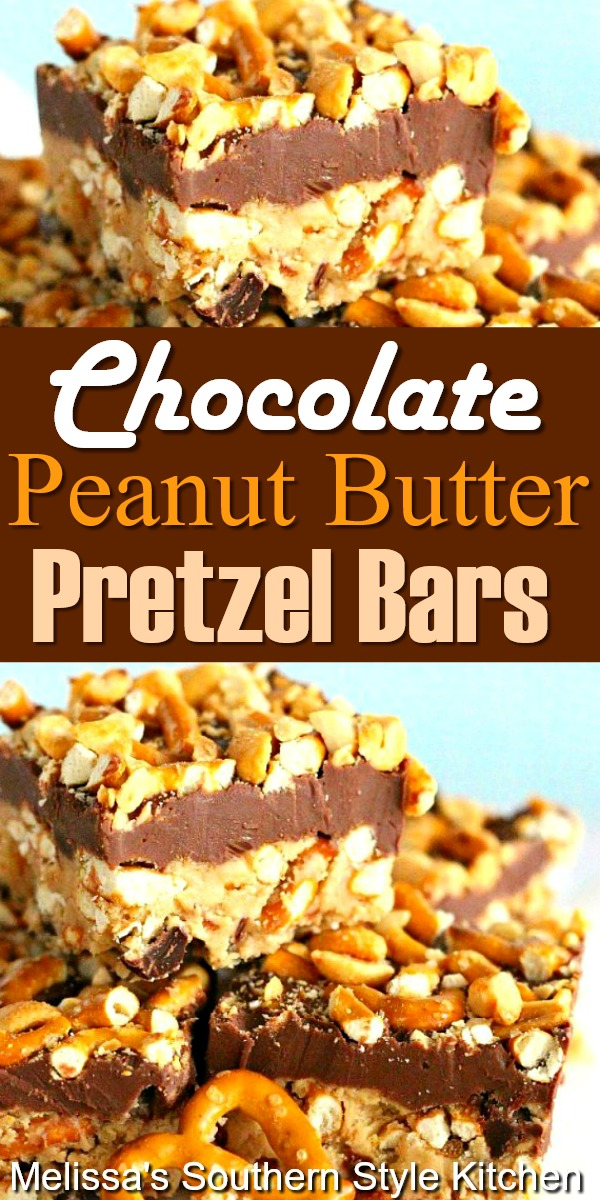 You'll love these no bake sweet and salty Chocolate Peanut Butter Pretzel Bars #chocolatebars #peanutbutterbars #pretzels #desserts #dessertfoodrecipes #southernfood #southernrecipes #pretzelbars