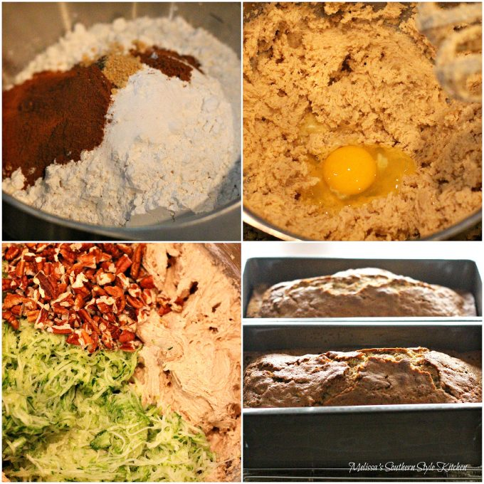 Step-by-step preparation images and ingredients to make Zucchini Bread