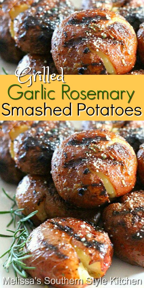Grilled Garlic Rosemary Smashed Potatoes make the perfect side dish for any entree #grilledpotatoes #smashedpotatoes #grilling #potatoes #potatorecipes #sidedishrecipes #sides #food #recipes #garlic #rosemary #Parmesan #southernrecipes #southernfood