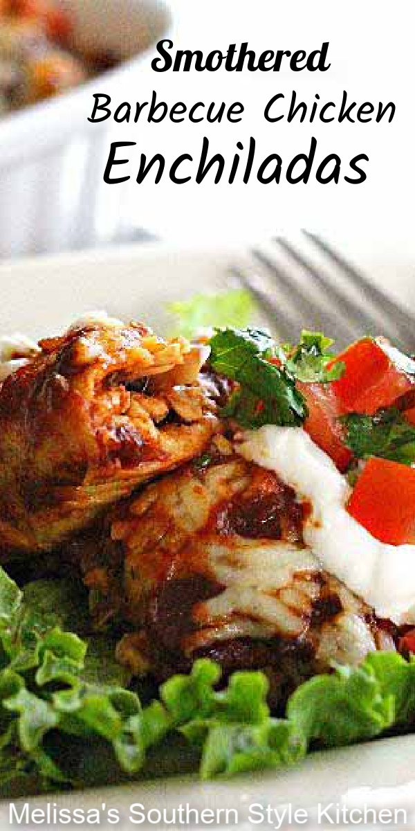 This fusion recipe for Smothered Barbecue Chicken Enchiladas combines two favorites into one South of the border inspired meal #enchiladas #barbecuechicken #easychickenrecipes #chicken #mexicanfood #chickenchiladas #southernrecipes