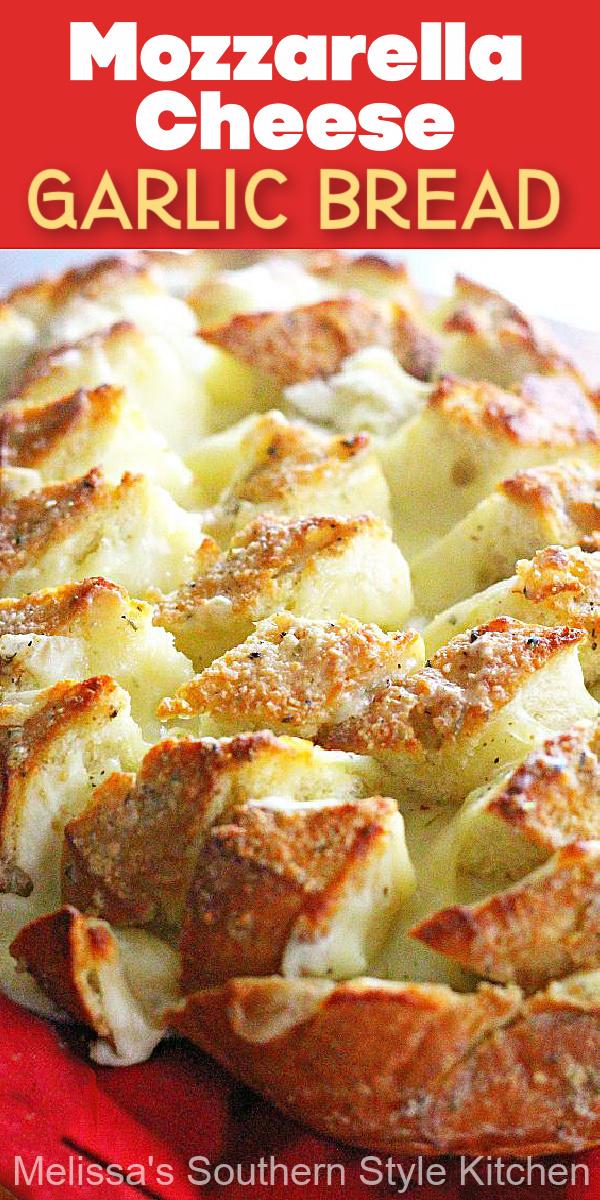 Enjoy this gooey Mozzarella Cheese Garlic Bread as an appetizer or a side dish #cheesebread #mozzarellacheesebread #garlicbread #breadrecipes #sidedish #dinnerideas #bread #appetizers #southernrecipes #southernfood #bestgarlicbreadrecipe #southernfood