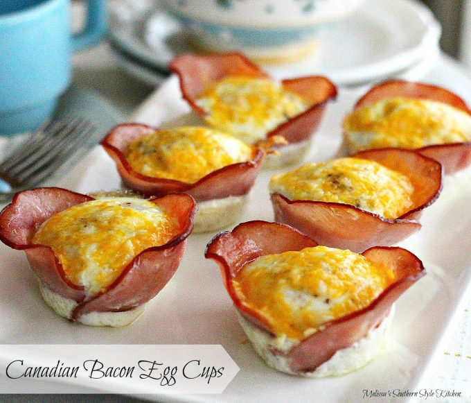 Canadian Bacon Egg Cups on a platter