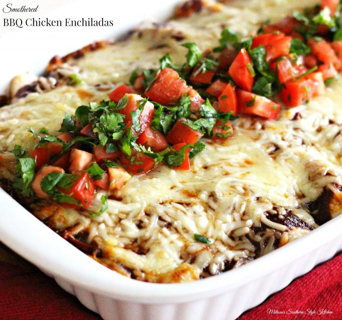 Smothered Barbecue Chicken Enchiladas