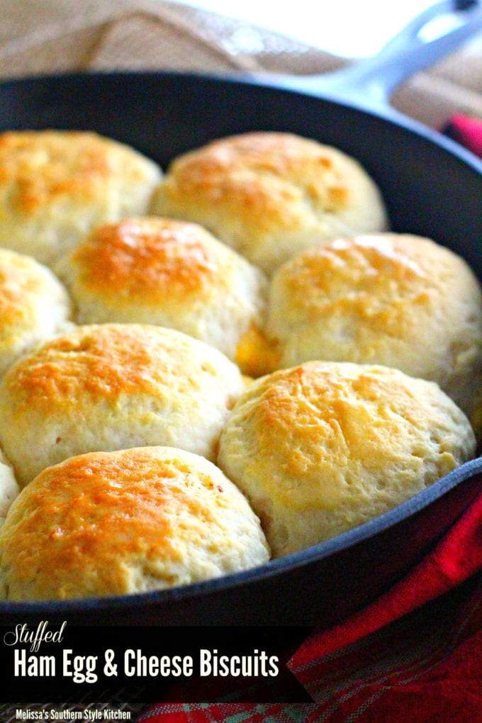 Stuffed Ham Egg And Cheese Biscuits baked in a Skillet