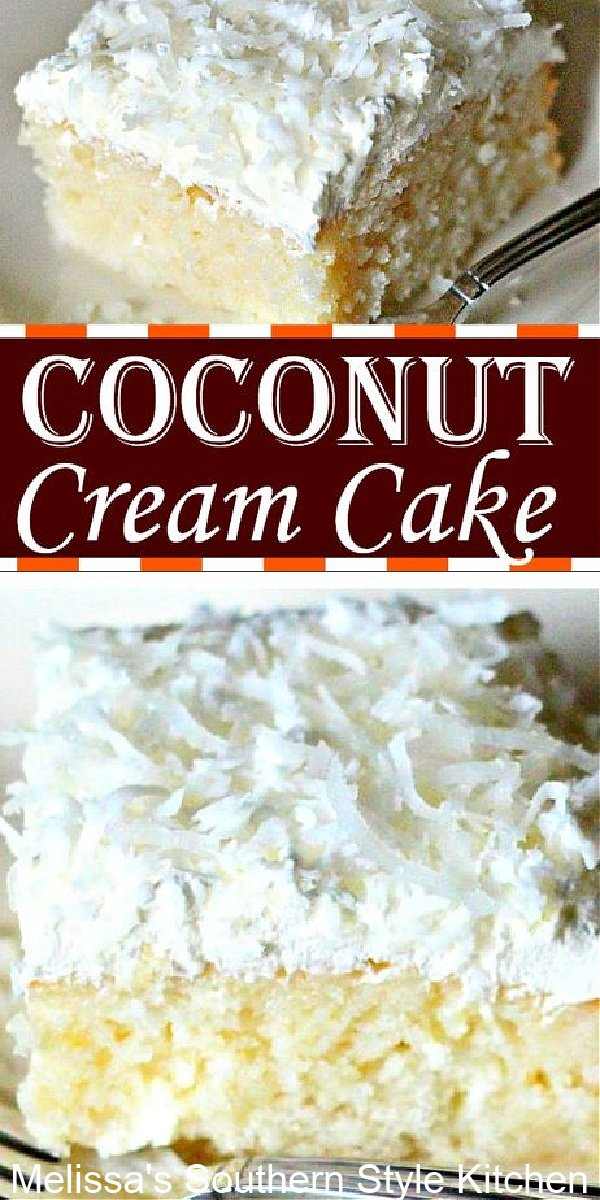 If you like coconut cream pie you'll love this heavenly Coconut Cream Cake #coconutcreamcake #coconutcream #cakes #cakerecipes #coconutsheetcake #sheetscakes #southerncakes #southernrecipes #easterdesserts #eastercakes