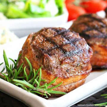 Grilled Bacon Wrapped Top Sirloin Medallions on a plate