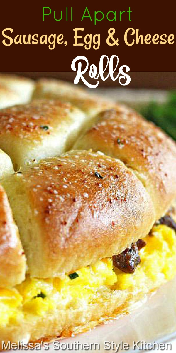 These buttery Pull Apart Sausage Egg and Cheese Rolls make a tasty start to your day #rolls #sausageandeggs #sausageeggandcheeserolls #breadrecipes #breakfast #brunch #holidaybrunch #eggs #eggrecipes #pork #southernfood #southernrecipes