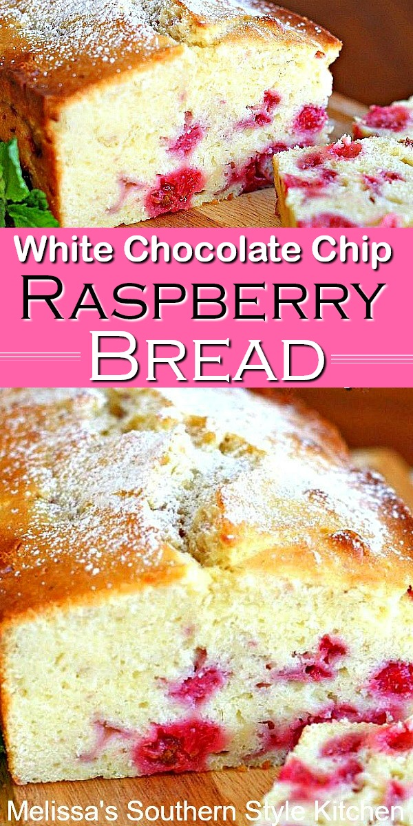 These fruit filled cake-like bread is filled with fresh raspberries and white chocolate chips #raspberrybread #whitechocolate #sweetbread #cakes #desserts #dessertfoodrecipes #southernfood #southernrecipes #raspberries #cakes #quickbreadrecipes