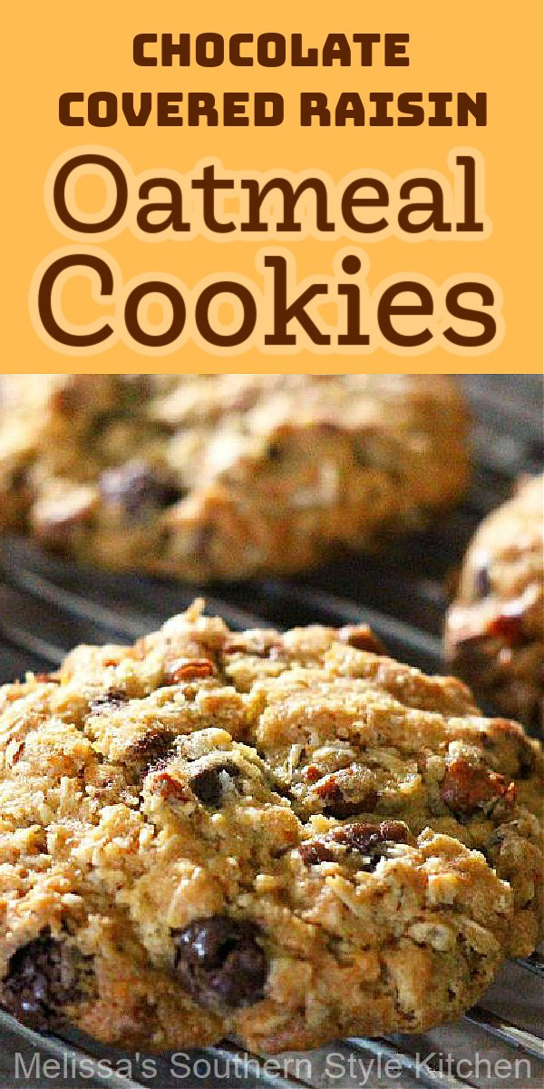 These classic cookies get an update with pecans and chocolate covered raisins #oatmealraisincookies #cookies #oatmealcookies #chocolate #pecancookies #cookierecipes #holidaybaking #holidays #christmascookies #chocolatecoveredraisins #southernfood #southernrecipes