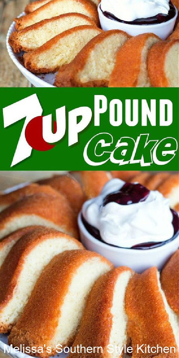 Seve this 7 Up Pound Cake with whipped cream and berries for a sweet ending to any meal #7uppoundcake #poundcakerecipes #bestpoundcakes #cakes #cakerecipes #desserts #dessertfoodrecipes #southernfood #southernrecipes #poundcake #southernpoundcake